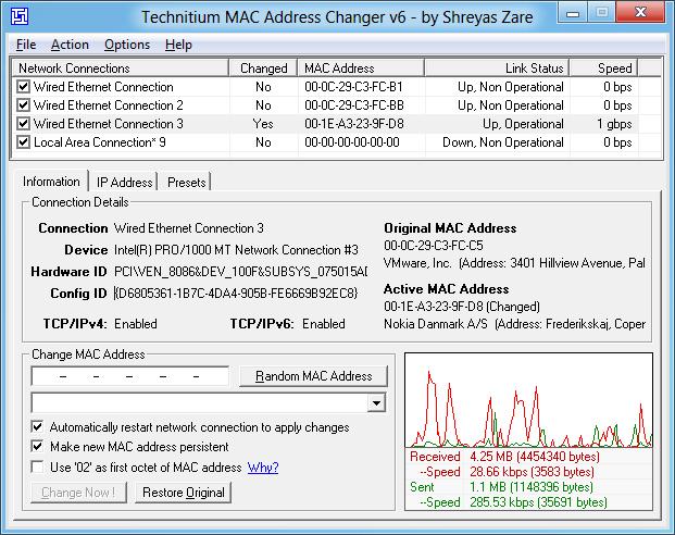 Bilgisayarınızın mac adresini değiştirin